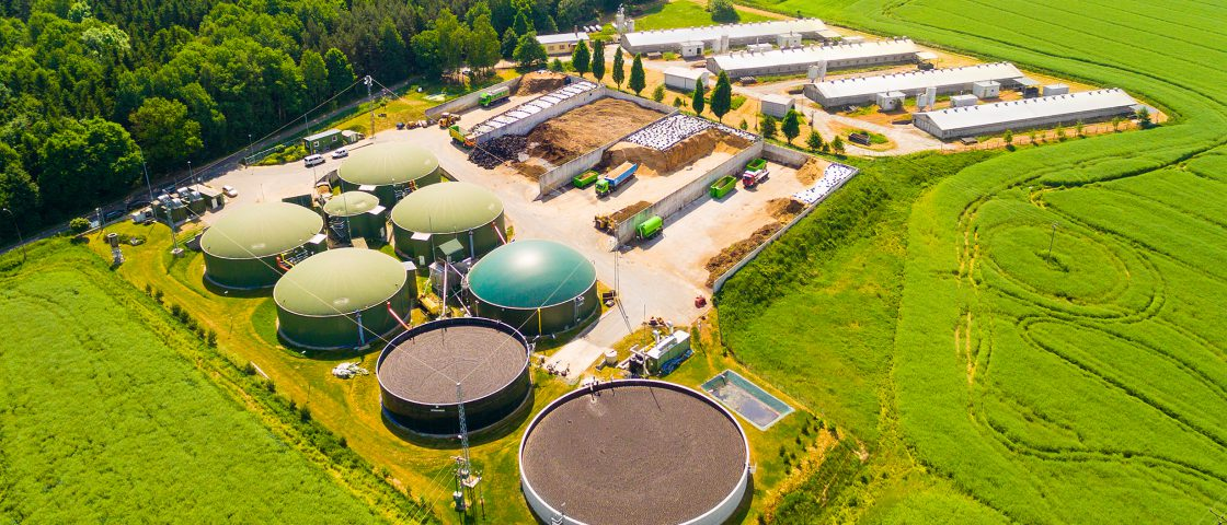 Aerial,View,Over,Biogas,Plant,And,Farm,In,Green,Fields.